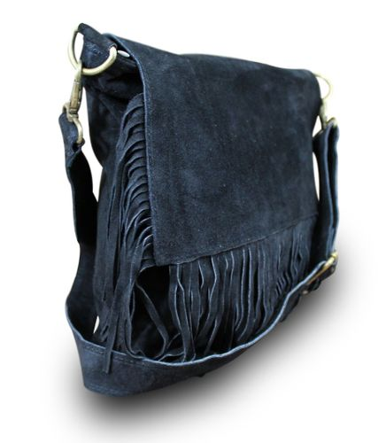 Made in Italy IT Bag Schultertasche Schultasche Laptoptasche Wildleder Schwarz – Bild 1