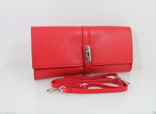 Ital Damen Leder Clutch Tasche Desinger Handtasche Borse in Pelle Echt Leder – Bild 17