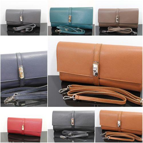Ital Damen Leder Clutch Tasche Desinger Handtasche Borse in Pelle Echt Leder – Bild 1