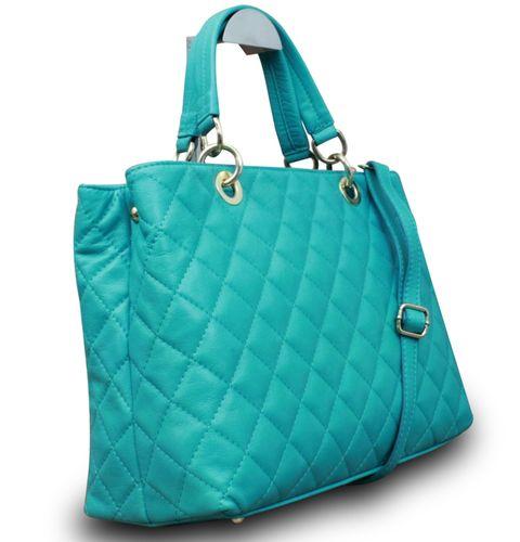 Made in Italy Luxus Damen Henkeltasche Hobo Clutch Party Bag Echt Nappa Leder gesteppt Türkis – Bild 2