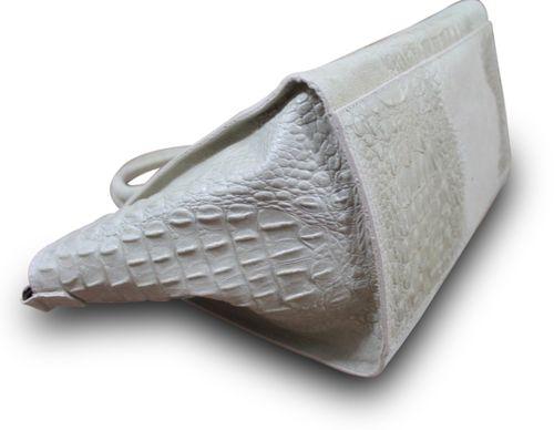 Made in Italy Luxus Damentasche Henkeltasche Clutch Bag Krokostyle Leder Beige – Bild 3