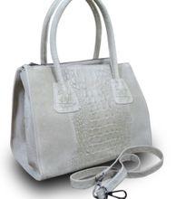 Made in Italy Luxus Damentasche Henkeltasche Clutch Bag Krokostyle Leder Beige