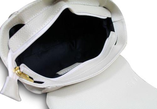 Made in Italy Luxus Damentasche Henkeltasche Clutch Bag Vera Pelle Leder Beige – Bild 5