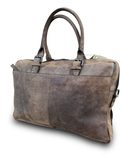 HUNT Messenger Schultertasche Business Bag Schultasche Cross Body Bag Premium Büffelleder Vintage Used Look Braun  – Bild 2