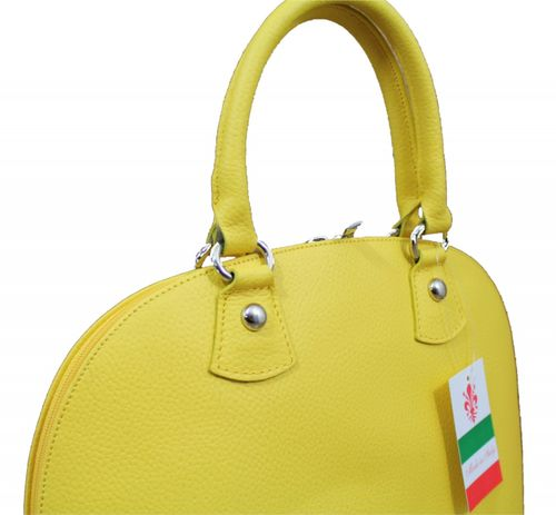 Made in Italy Damen Ledertasche Handtasche Henkeltasche Hobo Boston Bag Gelb – Bild 2