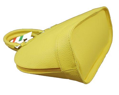 Made in Italy Damen Ledertasche Handtasche Henkeltasche Hobo Boston Bag Gelb – Bild 4