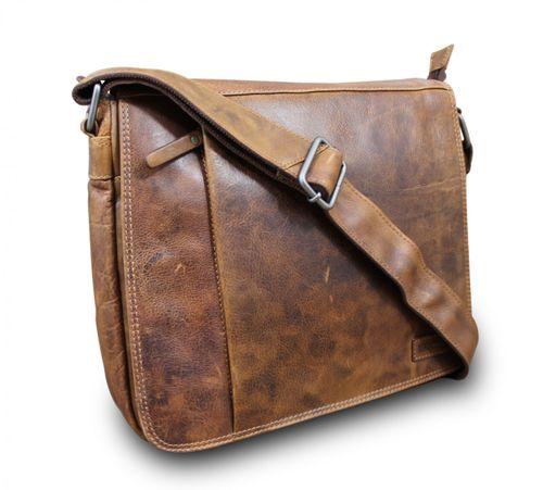 Hill Burry Messenger Aktentasche Schultertasche Premium Buff Brown – Bild 1