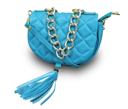 Made in Italy Luxus Damen Clutch Party Bag Cross Body Bag Kette Boho Vintage Nappa Leder Blau – Bild 1