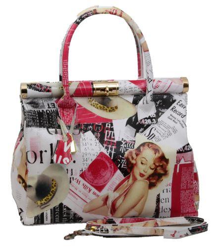Made in Italy Echt Leder XL Handtasche Henkeltasche Hobo Foto Print Motiv Journal – Bild 1