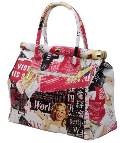 Made in Italy Echt Leder XL Handtasche Henkeltasche Hobo Foto Print Motiv Journal – Bild 2