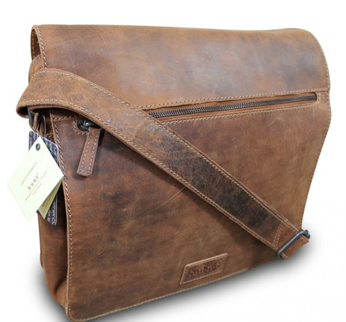 HUNT Aktentasche Messenger Schultertasche Business Bag Schultasche Cross Body Bag Premium Büffelleder Used Look Rot-Braun  – Bild 2