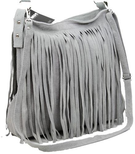 Made in Italy Fransentasche Beuteltasche Bag Schultertasche Wildleder Hellgrau – Bild 2