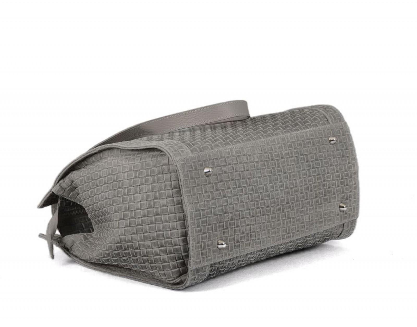 ce19f9e864380 Made in Italy Schultertasche Damentasche Bag Ledertasche Vintage geflochten  Grau – Bild 4
