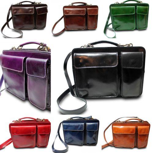 Made in Italy College Bag Messenger I-Pad Tasche Schultertasche Glattleder   – Bild 1