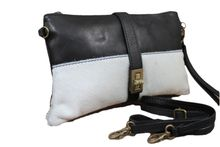 Made in Italy Damen Clutch Party Bag Clutch Nappa-Leder Echt Fell Weiß-Schwarz