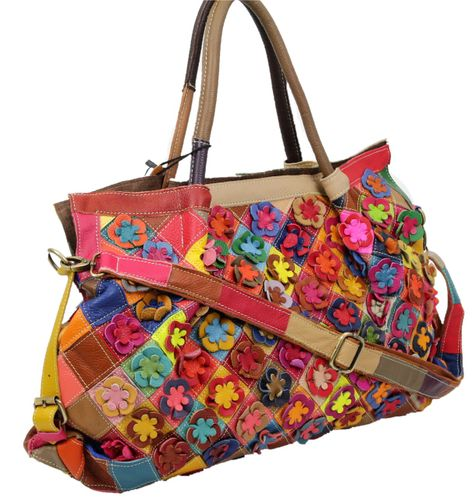 Made in Italy Damen Henkeltasche Schultertasche XL Shopper Bag Echt Leder Blumen Leder Flowerpower  – Bild 1