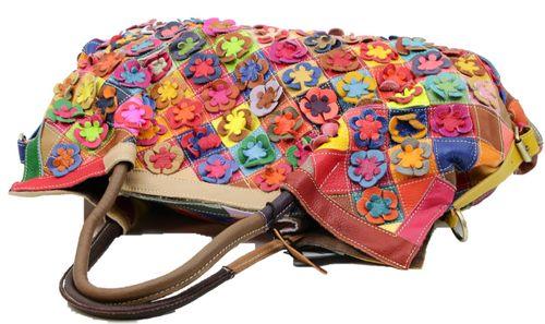 Made in Italy Damen Henkeltasche Schultertasche XL Shopper Bag Echt Leder Blumen Leder Flowerpower  – Bild 4
