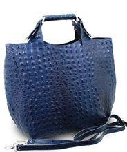 ital. Luxus Damentasche LEDER ALLIGATOR STAMP LADY CUBE BAG TASCHE BLAU 001