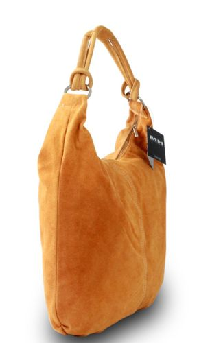 Made in Italy Damen Schultertasche Shopper Beuteltasche Echt Leder Wildleder Orange – Bild 3