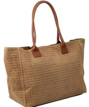Made in Italy Damen Schultertasche Shopper XL Bag Echt Leder geflochten Cognac 001