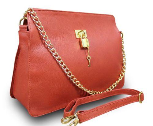 Made in Italy Luxus Damentasche Schultertasche Clutch Nappa Leder Kette Rotbraun