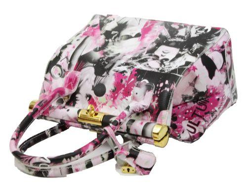 Made in Italy Echt Leder L Handtasche Henkeltasche Hobo Bag Print Motiv Glamour – Bild 5