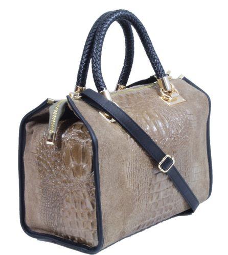Made in Italy Ladies Cube Bag Henkeltasche Nubuk Alligator Kroko Prägung Taupe – Bild 2