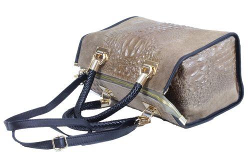 Made in Italy Ladies Cube Bag Henkeltasche Nubuk Alligator Kroko Prägung Taupe – Bild 4