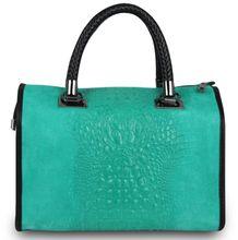 Made in Italy Luxus Designer Damen Henkeltasche Cube Hobo Nubuk Alligator Kroko Prägung Türkis 001