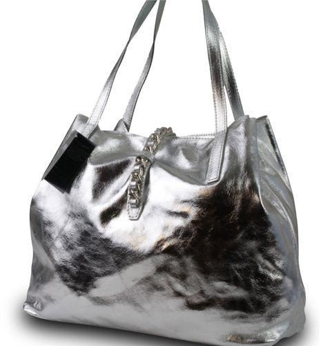 Made in Italy Luxus Damen Schultertasche Beutel Leder Bicolor-Metallic Silber – Bild 3