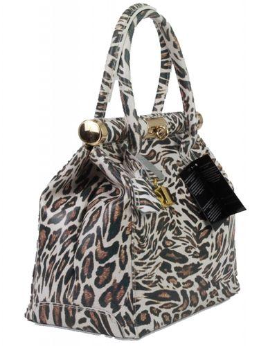 Made in Italy Echt Leder L Henkeltasche Hobo Bag Foto Print Motiv Wild Life Bunt – Bild 4