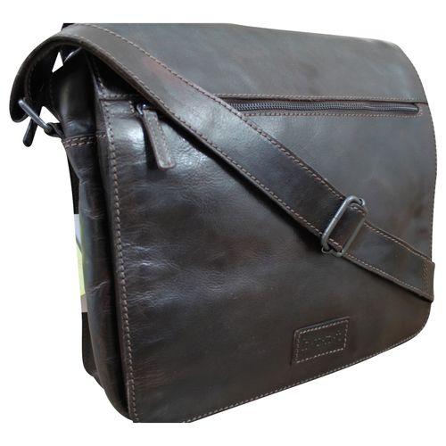 HUNT Aktentasche Messenger Schultertasche Business Bag Schultasche Cross Body Bag Premium Büffelleder Used Look Dunkel-Braun  – Bild 1