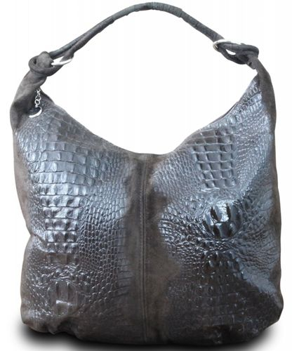 Made in Italy Damen Schultertasche Shopper Bag Leder Alligator Prägung Dunkelbraun – Bild 1