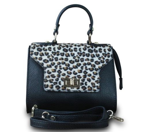 Made in Italy Luxus Damen Party Bag Clutch Henkeltasche Hobo Echt Leder Echt Fell Schwarz-Weiß-Braun – Bild 1