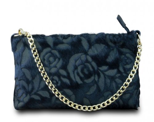 Made in Italy Clutch Party Bag Schultertasche Cross Body Bella Kette Leder Echt Retro Rose Vintage Schwarz – Bild 1