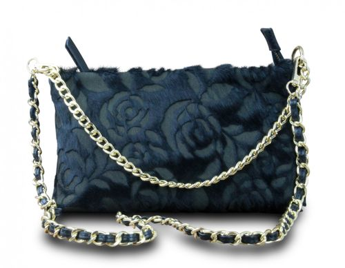 Made in Italy Clutch Party Bag Schultertasche Cross Body Bella Kette Leder Echt Retro Rose Vintage Schwarz – Bild 2