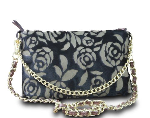 Made in Italy Clutch Party Bag Schultertasche Cross Body Bella Kette Leder Echt Fell Retro Rose Anthrazit – Bild 2