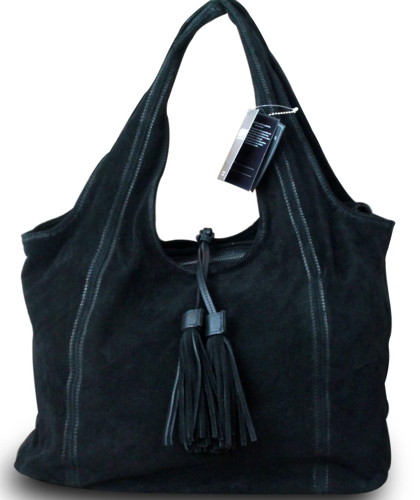 Neuankömmling 36c27 3e458 Made in Italy Luxus Designer Damentasche Schultertasche Beuteltasche  Shopper Bag Echt Wildleder Vintage Schwarz   Ceres Webshop