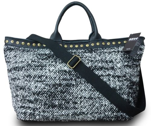 Made in Italy Luxus Designer Damen XL Shopper Beuteltasche Schultertasche Strick Leder – Bild 1