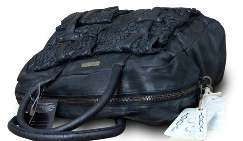Made in Italy Luxus Designer Damentasche Shopper Vintage Look Schwarz Josual London Bag – Bild 3