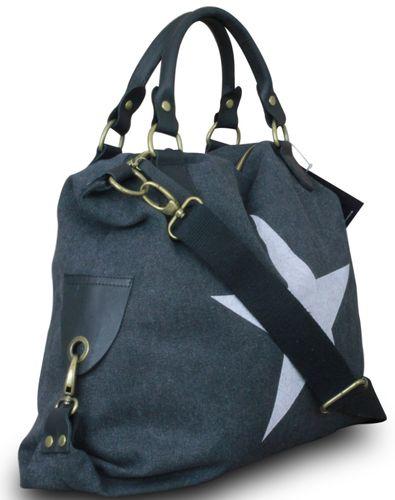 Shopper Damen Handtasche mit Stern Canvas Tasche mit Stern Blogger mit Stern Schultertasche Canvas Vintage  – Bild 17