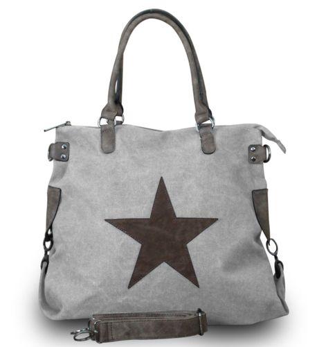 Shopper Damen Handtasche mit Stern Canvas Tasche mit Stern Blogger mit Stern Schultertasche Canvas Vintage  – Bild 12