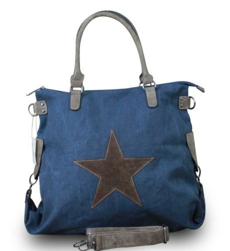 Shopper Damen Handtasche mit Stern Canvas Tasche mit Stern Blogger mit Stern Schultertasche Canvas Vintage  – Bild 10