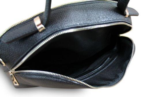 Made in Italy Luxus Designer Damentasche Hobo Henkeltasche Echt Leder Fell Schwarz  – Bild 5