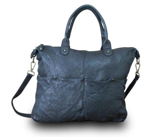 Made in Italy Schultertasche Messenger Schultasche Crossbody Bag Vintage Used Look Leder Schwarz – Bild 2