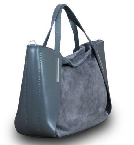 Made in Italy Luxus Damen Handtasche Henkeltasche Bag Shopper Echt Leder Grau – Bild 2
