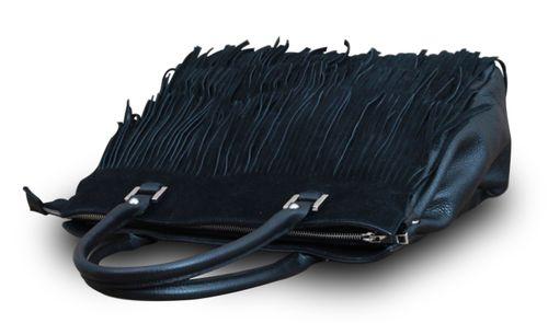 Made in Italy Damen Handtasche Henkeltasche Bag Shopper Fransen Echt Leder Schwarz – Bild 3
