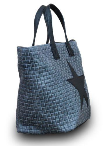 Stern Tasche Handtasche Ital. Echt Leder Schultertasche Umhängetasche Geflochten  – Bild 3