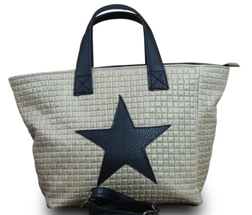 Stern Tasche Handtasche Ital. Echt Leder Schultertasche Umhängetasche Geflochten  – Bild 19