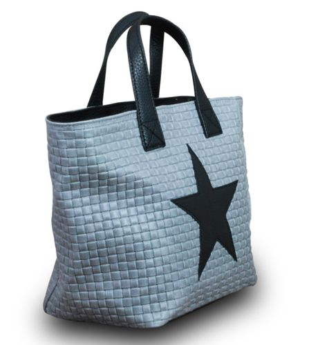 Stern Tasche Handtasche Ital. Echt Leder Schultertasche Umhängetasche Geflochten  – Bild 9